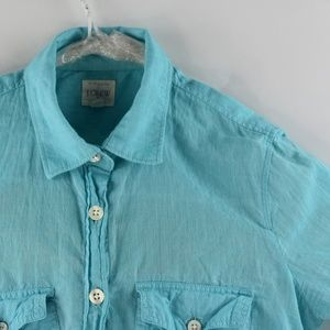 J. Crew Perfect Shirt XS Womens Teal Long Sleeve